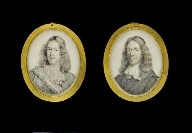 Continental School, circa 1675 A pair of portraits of Cornelis (1623-1672) and Johan de Witt (1625-1672): the former, wearing doublet with sash and lace falling collar, his curling hair worn long; the latter, wearing black robe with white lawn collar, his curling hair worn long beneath a black skull cap