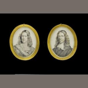 Continental School, circa 1675 A pair of portraits of Cornelis de Witt (1623-1672), wearing doublet with sash and lace falling collar, his curling hair worn long, and Johan de Witt (1625-1672), wearing black robe with white lawn collar, his curling hair worn long beneath black skull cap