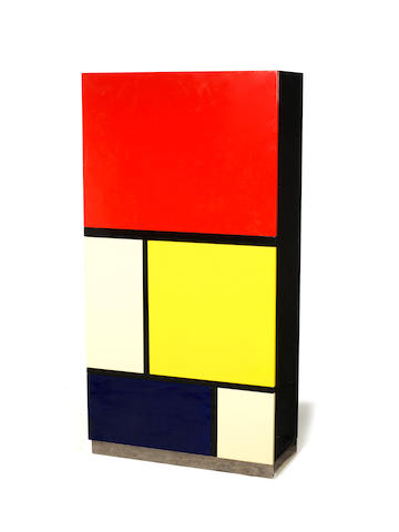Koni Ochsner for Röthlisberger Kollektion Mondrian 2 Cabinet  designed and executed in 1977  the interior stamped OBJEKT 2 NR 29 1977 high gloss spray coated finish with spring loaded catches and polished chromed steel base  162 by 83 by 36 cm. 63 3/4 by 32 11/16 by 14 3/16 in.