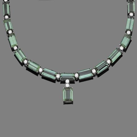 A tourmaline and diamond necklace and bracelet suite (2) (partially illustrated)