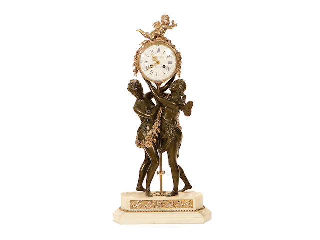 A Louis XVI patinated and silvered bronze figural mantel clock by Henry Voisin of Paris