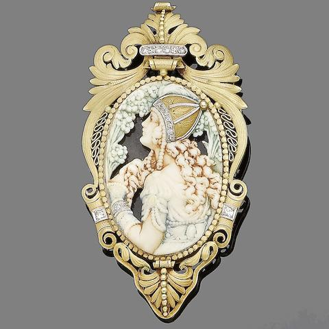 An early 20th century gold, painted ivory, tortoiseshell and diamond brooch