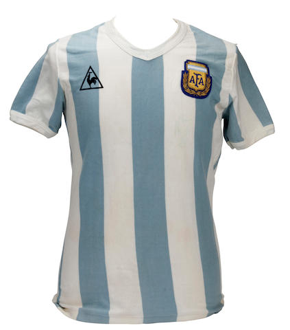 A  Diego Maradona Argentina shirt from the 1982 Spain World Cup