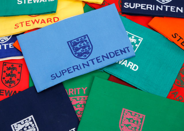 A collection of Wembley stewards armbands