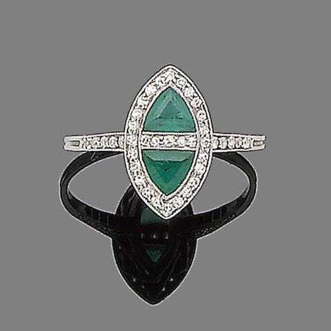 An early 20th century emerald and diamond ring,