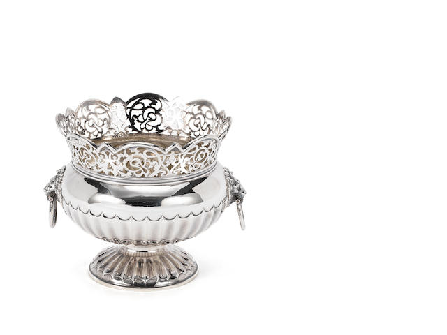 An Edward VII silver two-handled footed bowl with pierced rim, London 1903 - 28 ozs