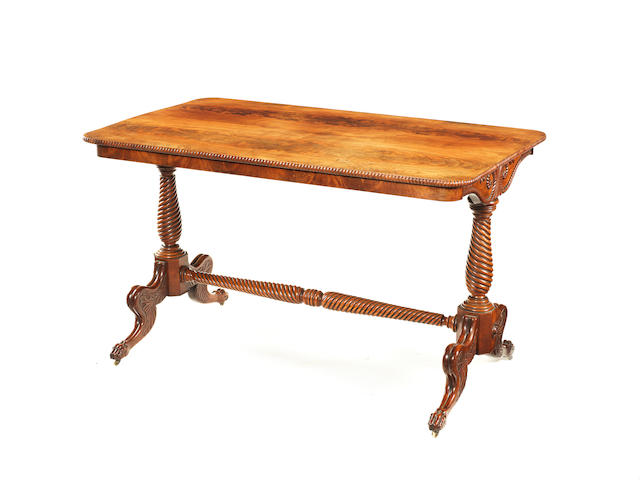 A Regency Irish carved mahogany centre table