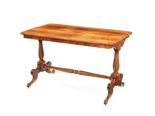 A Regency Irish carved mahogany centre table