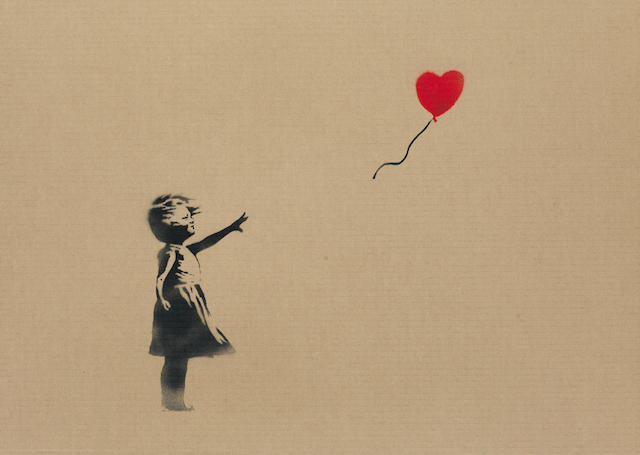 Banksy (b.1975) Balloon Girl- framed work on cardboard