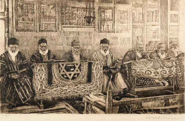 Ephraim Moshe Lilien (Israeli, 1874-1925) At the library, 1915 35 x 56cm (13 3/4 x 22 1/16in) (plate size).