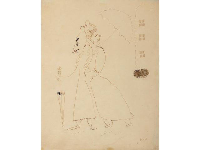 Marc Chagall (Russian/French, 1887-1985) 'Femmes au parapluies' for la suite provincial de Gustave Coquiot, 1926