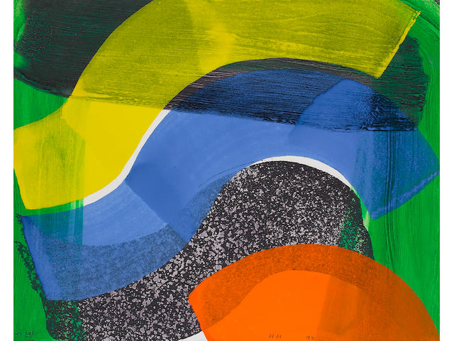 Sir Howard Hodgkin (British, born 1932) Put Out More Flags Lift-ground etching with aquatint, with carborundum in colours, with hand colouring in cadmium orange, cobalt blue and cadmium yellow egg temmpera, 1992, on wove, signed with initials, dated and numbered 53/75 in pencil, published by the Modern Art Museum of Fort Worth, Texas, printed and hand coloured by Jack Shirreff at the 107 Workshop, the full sheet printed to the edges, 420 x 524mm (16 1/2 x 20 5/8in)(SH) (unframed)
