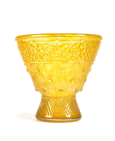 PGL 727AUM Vase Yellow glass conical body