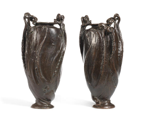 RP 113š PAIR of VASES by LEO LAPORTE BLAIRSY and cast by HEBRARD in bronze with Octopus decoration