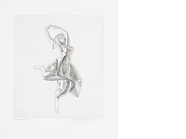 John Buckland-Wright (British, 1897-1954) Dancer No II(Buckland-Wright M.90) The rare engraving, 1953, a very fine impression printed with delicate print tone, on J. Whatman wove, signed, titled, dated and numbered 12/40 in pencil, only the first twelve prints were ever signed, with full margins, 215 x 187mm (8 3/4 x 7 3/8in)(PL)(unframed)