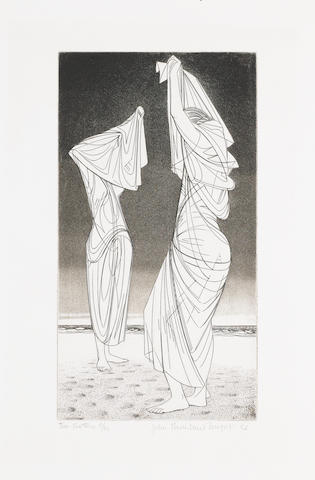 John Buckland-Wright (British, 1897-1954) Two Bathers  Etching with aquatint, 1953, on Whatman, signed, titled, dated and numbered 6/30, with wide margins, 278 x 150mm (10 7/8 x 5 7/8in)(PL)(unframed)