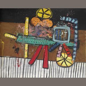 Alan Davie (born 1920) Little Tut's Wagon 1963  signed, titled and dated DEC 1963 on the reverse oil on masonite  120 by 151 cm. 47 1/4 by 59 7/16 in.