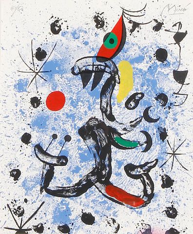 Joan Miro (Spanish, 1893-1983) Miro (Maeght 687) Lithograph printed in colours, 1970,  on Arches, signed and numbered 6/60 in pencil, printed by Maeght, Paris, published by Fabbri Fratelli, Milan, the full sheet printed to the edges,  305 x 250mm (12 x 9 3/4in)(SH)