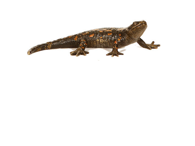 Franz Bergman, Austrian (1861-1936) A cold painted bronze model of a Salamander