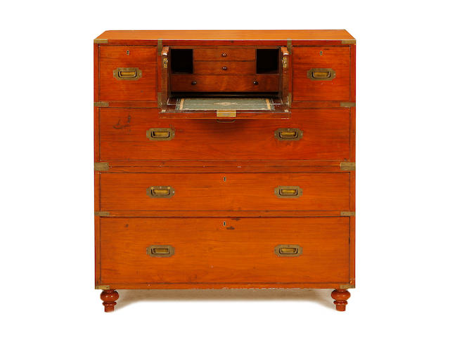 A Victorian teak and brass bound secretaire campaign chest