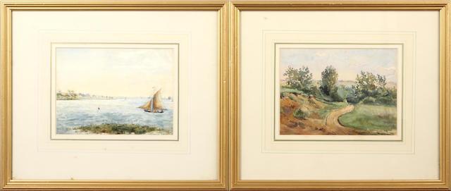 Thomas Churchyard (British, 1798-1865) River scene with sailing boat