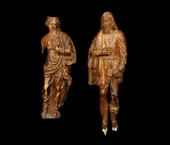 A 17th century giltwood figure of Saint Roch together with an 18th century figure of the Virgin