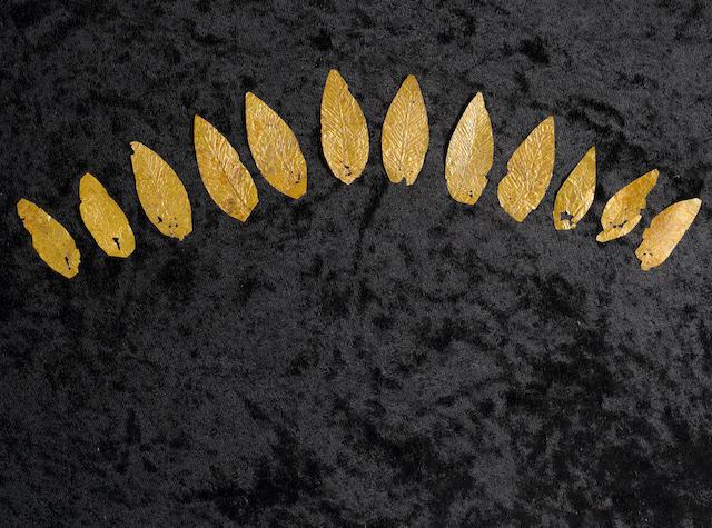 A group of twelve Hellenistic sheet gold leaves