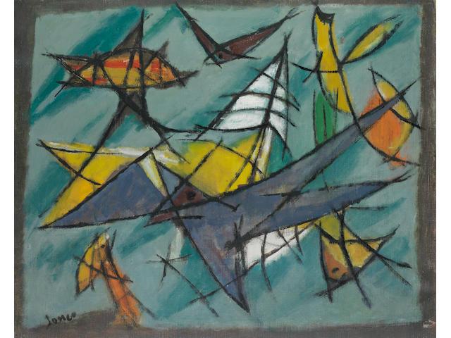Marcel Janco (Romanian/Israeli, 1895-1984) Flight 607 (Flightline), 1950
