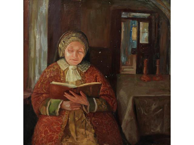 Maurice Minkowski (Polish/Israeli, 1881-1930) Jewish woman praying together in the original frame