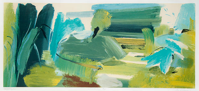 Ivon Hitchens (British, 1893-1979) For John Constable Screenprint in colours, 1976, on wove, signed, titled and inscribed 'A/P' in pencil, an artist's proof aside from the edition of 100, counter-signed by Betambeau, printed and published by Advanced Graphics, London, 372 x 835mm (14 5/8 x 32 7/8in)(I)