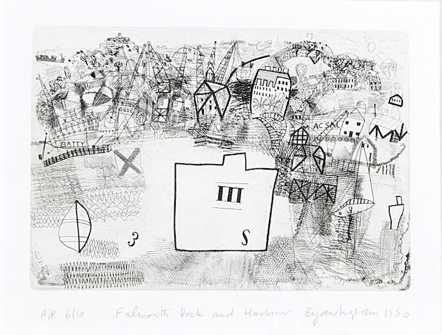 Bryan Ingham (British, 1936-1997) Falmouth Dock and Harbour; Walsden & Bowl of Flowers Three proof etchings, on wove, each signed, titled and inscribed proof in pencil, two also dated, 210 x 255mm (8 1/4 x 10in)(PL)(and smaller); together with another, initialled 'BI' in pencil (4)