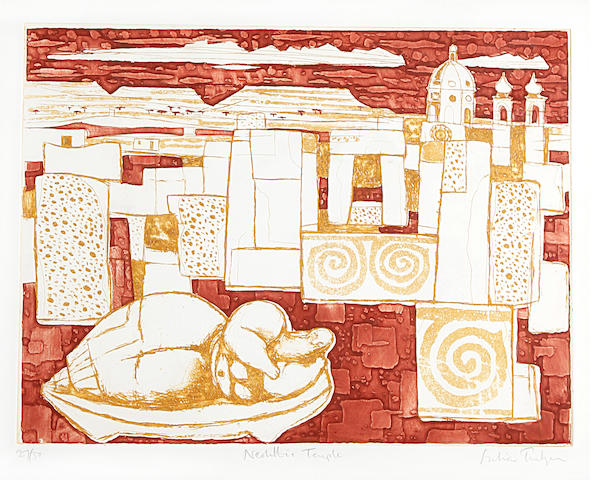 Julian Trevelyan R.A. (British, 1910-1988) Neolithic Temple, from the Malta Suite Etching with aquatint printed in colours, 1959, on wove, signed, titled and numbered 27/50 in pencil, 380 x 495mm (15 x 19 1/2in)(PL); together with Elizabeth Blackadder 'Anemones and Lilies', offset lithograph in colours, signed and titled in pencil, 365 x 510mm (14 1/2 x 20in)(I)(2)