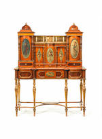 A satinwood, banded, fiddleback mahogany??? , marquetry and parcel gilt secretaire cabinet reconstructed from an important cabinet by Seddon, Sons & Shackleton of 1793 for Charles IV of Spain, the panels possibly by William Hamilton R.A
