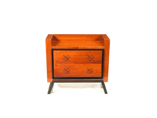 PGL 268b Jean Royere A Chest of Drawers circa 1955  mahogany and patinated iron  73.5 by 80cm by 38 cm. 28 15/16 by 31 1/2 by 14 15/16 in.