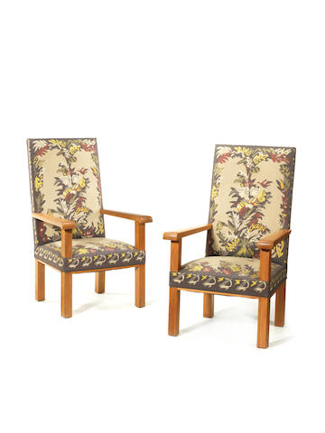C 1103 Jacques Adnet circa 1930 A Pair of Armchairs   the oak frames upholstered in Aubusson tapestry with a design by Lucien Coutaud  Height: 121 cm.                47 5/8 in.