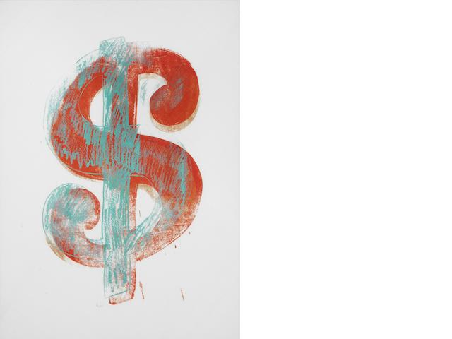 Andy Warhol (1928-1987) Dollar Sign 1981/82  screenprint ink on handkerchief mounted on board  35.5 by 25 cm. 14 by 9 3/4 in.  This work was executed in 1981/82.