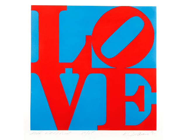 "Robert Indiana (American, born 1928) Love Red/Blue Etching with aquatint printed in colours, 1991, on wove, signed, titled, dated and numbered 17/25 in pencil, printed by Vinalhaven Press, with their blindstamp, published by Susan Sheehan Gallery to co-incide with the release of ""Robert Indiana Prints Catalogue Raisonne 1951-1991"", with full margins, 595 x 595mm (23 1/2 x 23 1/2in)(PL)"