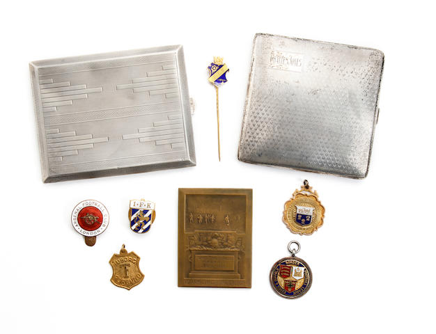 Medals, plaque, cigarette cases presented to Charlie Jones