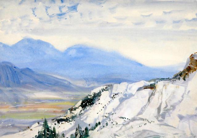 Cecil Arthur Hunt (British, 1873-1965) Continental mountain landscape in snow