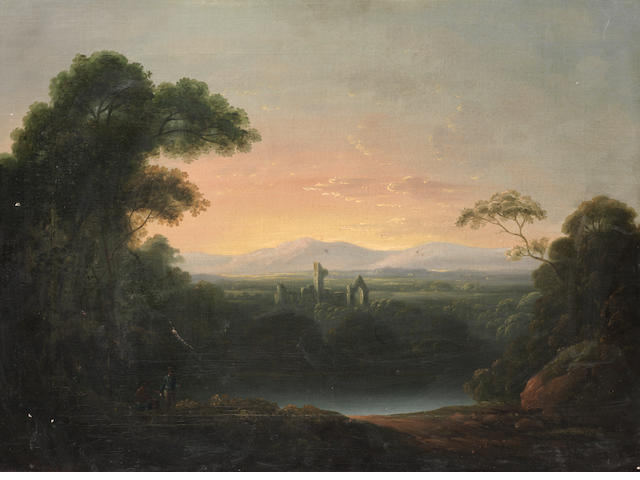 Attributed to John Rathbone (Chester circa 1750-1807 London) Figures on a shore before a river landscape, with ruins in the distance unframed