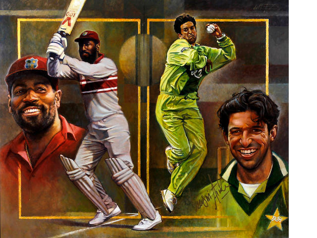 'The Legends' - Vivian Richards/Wasim Akram painting