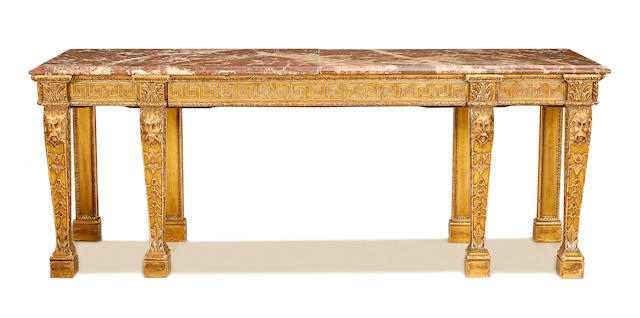 A large late 19th/early 20th century carved giltwood serving table in the George II style