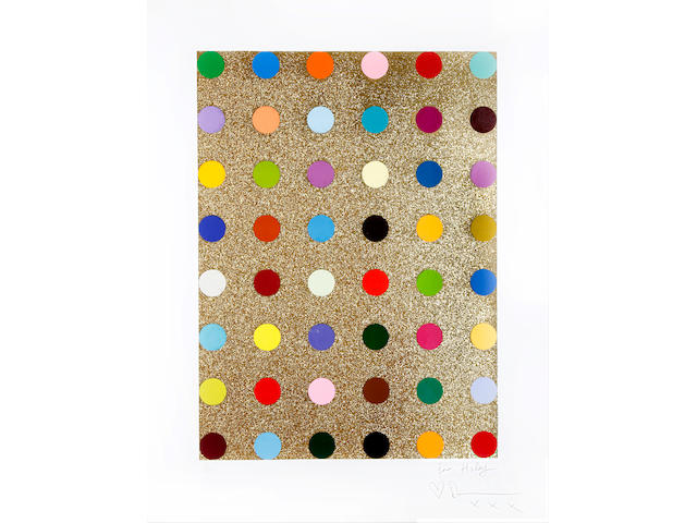Damien Hirst (British, born 1965) Aurous Iodide Screenprint in colours with gold glitter, 2009, on wove, signed and numbered 12/150 in pencil, inscribed 'for Hayle (love) Damien', with full margins, 755 x 555mm (29 3/4 x 21 7/8in)(I)