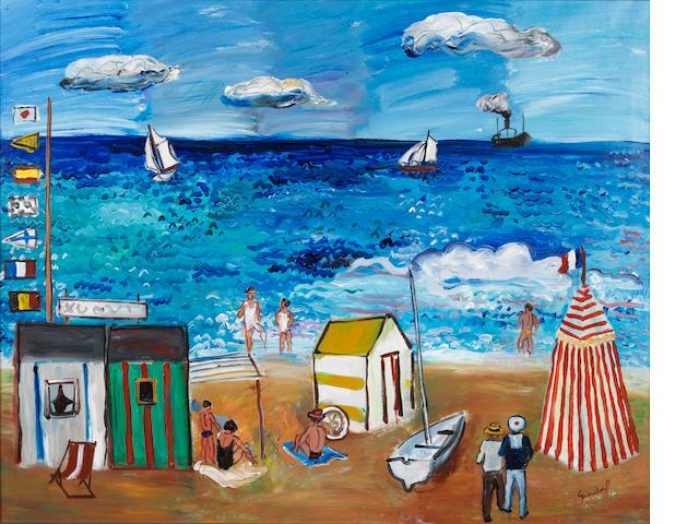 Carlos Nadal (1917-1998) La plage à Nice