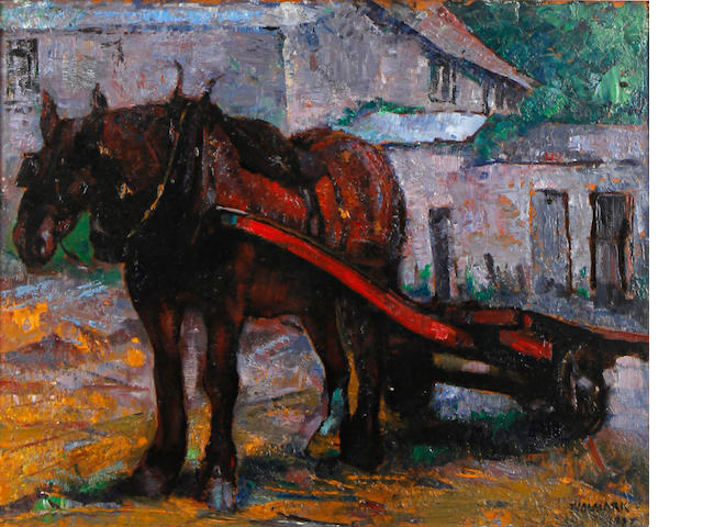 Alfred Aaron Wolmark (British, 1877-1961) Horse and cart