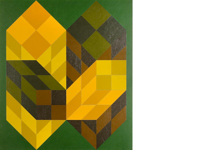 Victor Vasarely (1906-1997) Bidim-Sarga 1973  signed, titled and dated 1973 on the reverse acrylic on board  91 by 80 cm. 35 13/16 by 22 1/8 in.