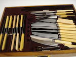 Large canteen of cutlery in 3 drawer oak cabinet - as per list included