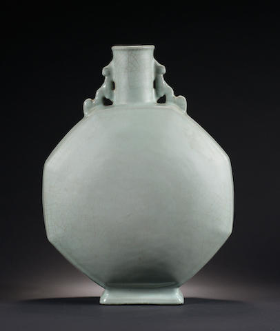 A rare and large ru-type glazed moonflask, Yongzheng seal mark and of the period