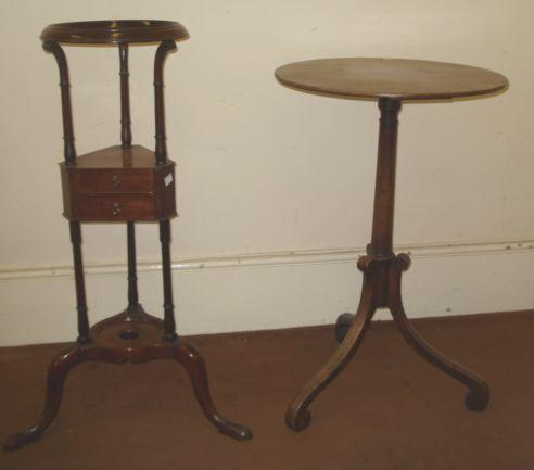 A reproduction mid 18th Century style mahogany basin stand