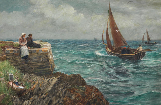 Charles Napier Hemy, RA RWS (British, 1841-1917) 'Good luck with your fishing!'